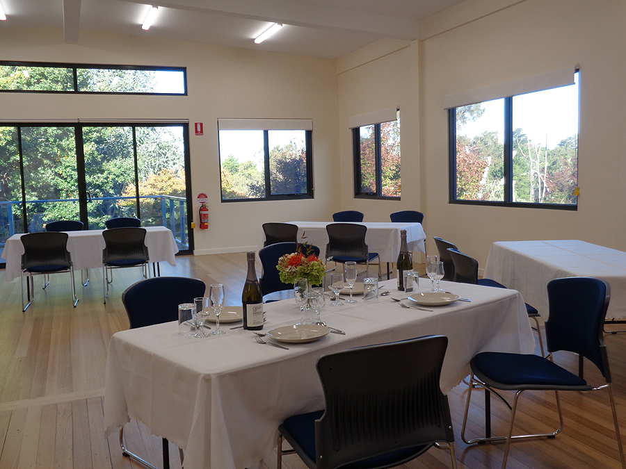 At crafers in the adelaide hills its spacious and air conditioned with room for 80 plus seated on padded chairs to dine or many more for informal